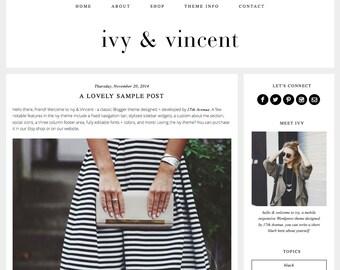 "Blogger Template Premade Blog Theme Design - ""Ivy & Vincent"" Instant Digital Download, Black, Simple and Chic"
