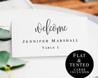 Wedding seating cards template Printable wedding place cards Place cards instant download Seating cards rustic Wedding table name card #vm41
