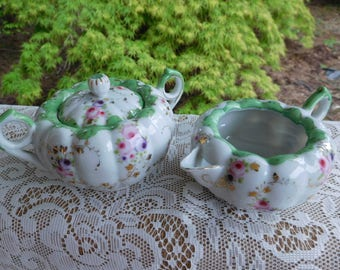 Vintage Covered Sugar Bowl and Creamer with Green Trim and Floral Design