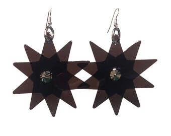 Star Bright Earrings - Black Star Shaped PVC Earrings - Party Earrings with Silver Colour Fish Hooks