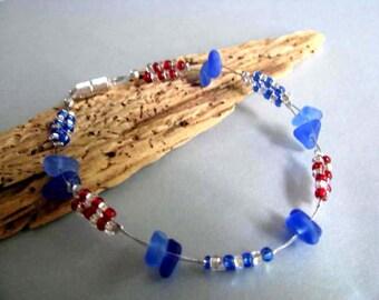 Sea Glass Bracelet - Beach Glass Bracelet - Rare Cobalt Blue and Cornflower Blue - Pure Prince Edward Island Sea Glass - Ocean Jewelry Gifts