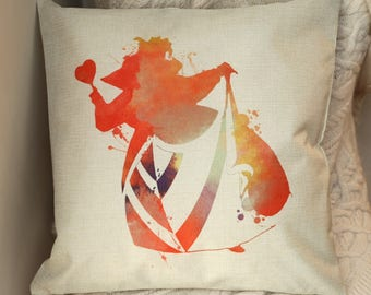 "disney alice in wonderland red water colour inspired  "" queen of hearts "" cushion cover 45 by 45 cm  gift"