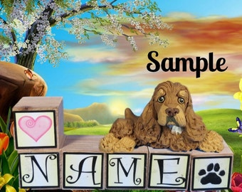 Chocolate and Tan Cocker Spaniel dog PERSONALIZED with your dog's name on blocks by Sally's Bits of Clay