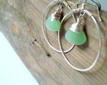 Large Sterling Hoop Earrings with Jadeite Green Glass Metalwork Spring Fashion Mint Green Artisan Jewelry Briolette Gifts Under 50