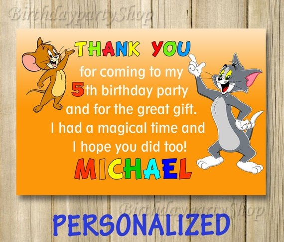 Tom And Jerry Thank You Card Tom And Jerry Birthday Thank You