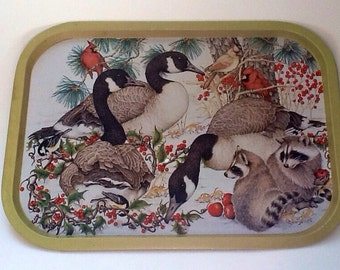 Vintage Tin Tray Winter Scene Canadian Geese Racoon Birds Midwest importers