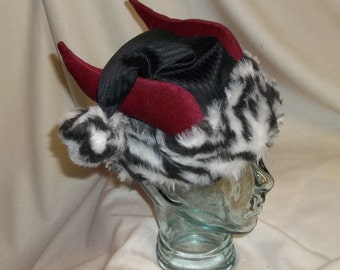 Black, Red and White Krampus Hat- Santa Hat with Horns