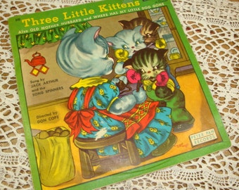 Vintage Children's Record, Three Little Kittens, Old Mother Hubbard, Where Has My Little Dog Gone, 78 rpm, Peter Pan Records, 1960  (404-15)