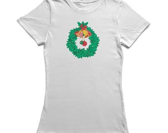 Decorated Christmas Wreat With Bells Graphic  Women's White T-shirt
