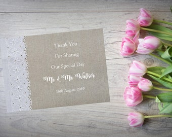 Personalised Wedding Thank You Cards with Matching Envelopes Pack Of 10 TY110