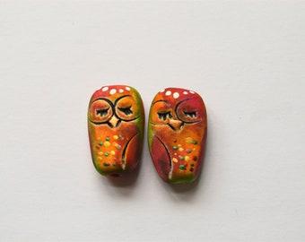 Red Yellow Green Nerdy Whimsical Sleeping Owl Charms,Sleeping Owl Beads,Polymer Clay Owls,Critters,Animal Beads, Owls,Artisan Owl Beads