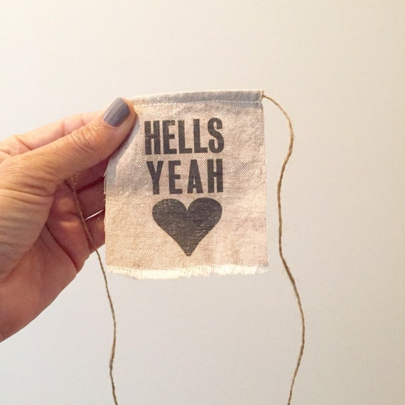 Hells Yeah Banner Cake Topper - Linen Banner Style - celebrations