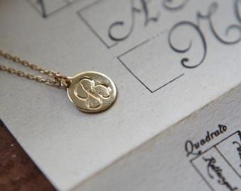 Custom Engraved Vintage Style Gold Necklace in 8 karat gold
