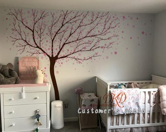 Cherry blossoms Tree decal, Wall Murals, Baby girl Nursery decal, Wall Decal Wall stcikers-Blowing tree with cherry flowers decal-DK216