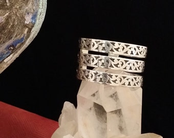 Lois Hill Solid Sterling Silver Cuff Bracelet Signed Piece