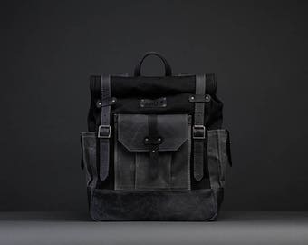 Waterproof Waxed Canvas Backpack/Rucksack Rolltop with black leatherstaps Hipster Backpack Rolltop Backpack Gift for Him Vintage Backpack