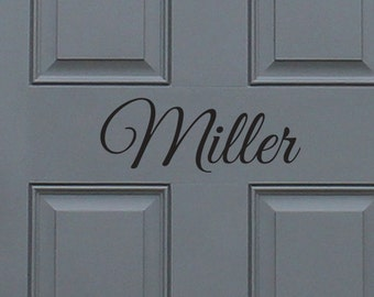 Custom Last Name Front Door Vinyl Decal, home decor