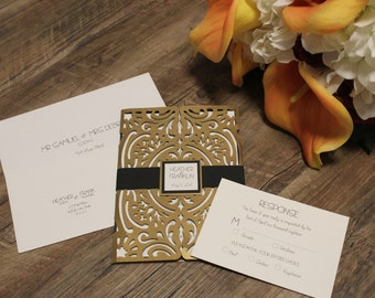 Gold and Black Formal Gatefold Wedding Invitation - Choose Your Own Colors- Customize Your Own