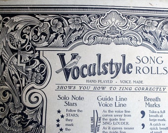 ON SALE Antique Piano Roll 1926