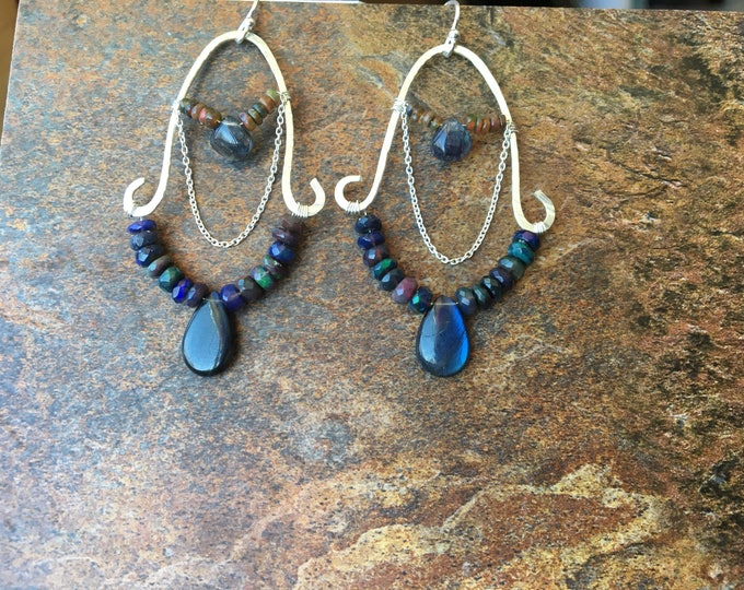 Faceted Opal and Smooth Labradorite Teardop Chandelier Earrings Sterling Silver Luxury Gift