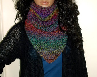 Hand Crochet Kerchief Cowl, Scarf, Neckwarmer, Winter Wear, Multi Colors, Winter Accessory, Triangle Cowl, Triangle Neckwarmer, Ombre
