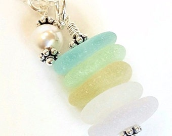 Beach Glass Necklace, Beach Glass Jewelry, Pearl Jewelry, GENUINE Sea Glass Necklace In Pastels, Seaglass Necklace, Beach Necklace