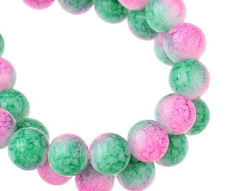 5 pearls pink and green marbled glass 10mm