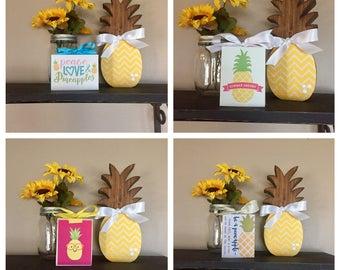 Pineapples 3x4 Wood Blocks - Peace, Love  & Pineapples, Summer Dreams, Be A Pineapple