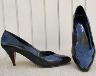 vintage 80s jacqueline ferrar black leather heels pumps shoes 7m spain all leather