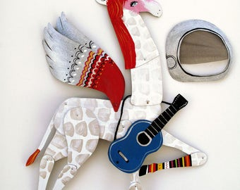 Ziggy Stardust / Hand Painted Articulated Decoration  / Bowie Tribute / LAST ONE