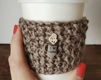 "Crochet ""I Love Coffee"" Coffee sleeve, Crochet coffee cozy, espresso coffee sleeve, Gift,"