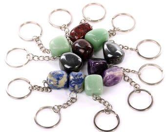 Natural Tumbled Semi-Precious Gemstone Keychain