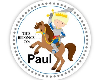 Name Label Stickers - Royal Knight Sticker, Horse and Knight Personalized Name Sticker Labels, This Belongs To - Back to School Name Labels