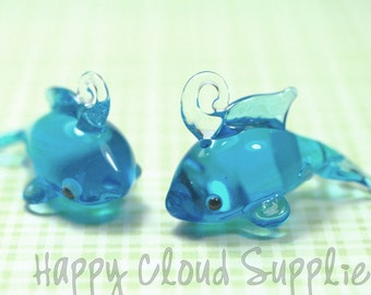 Blue Shark Lampwork Glass Charms... 2pcs