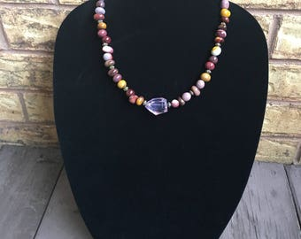 Natural Nugget Freeform Gemstone Beaded Necklace, Natural Red Yellow Mookaite Necklace