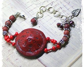 Rustic red bohemian bracelet, Boho medallion bracelet, Red boho beaded bracelet, Art bead jewelry, OOAK, Fits small wrist gift for her
