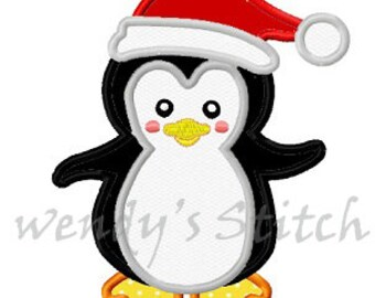 Christmas penguin with hat machine embroidery design applique