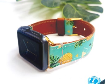 Pineapple Style Apple Watch Band 38mm, 42mm//Handmade Apple Watch Strap iWatch Band iWatch Strap Wearable Tech Christmas Gift