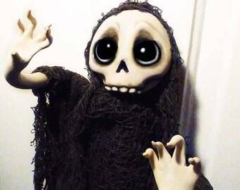 Ghost Ornament Grim Reaper, Skull Ornament, Halloween Decoration, Halloween, Creepy Cute  - MADE TO ORDER -