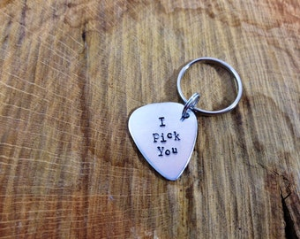 Hand Stamped 'I Pick You' Guitar Pic Key Chain