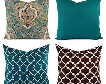 One Decorative Pillow Cover - Teal Pillow - Teal Throw Pillow - Brown Pillow - Brown Throw Pillow - 12 x 16 Inch Pillow 16x16 18x18 20x20