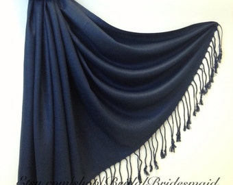 Wedding Season SALE - NAVY PASHMINA - navy shawl - navy bridesmaid wrap - navy bridal shawl - navy pashmina scarf - navy scarf on sale