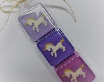 Unicorn Soap Gift Set, 3 soaps of your color choice, giftbagged
