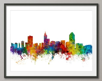 Raleigh Skyline, Raleigh North Carolina Cityscape Art Print (1771)
