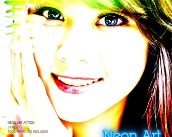 Neon Art Actions: Photoshop Actions and Photoshop Elements Actions  - Commercial Use INSTANT DOWNLOAD