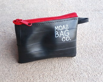 Coin Purse - Vegan Wallet - Recycled Bike Tube Zip Pouch - Cyclist Gift Under 20 - Small Bike Gift
