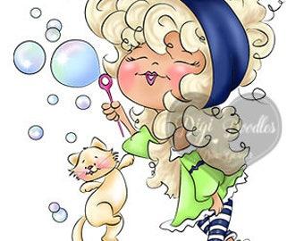 Instant Download Digital Stamp Digi Stamp Blowing Bubbles by Dina Gerner