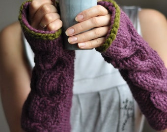 Hand knit cable fingerless gloves long armwarmers wrist warmers gauntlets in purple fig olive green or CHOOSE YOUR COLOR Freezebaby Mittens