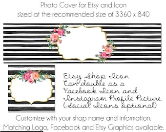Etsy Cover Photo - Add your own Text, Instant Download, Oh Kate, New Cover Photo For Etsy, Made to Match Graphics, DIY