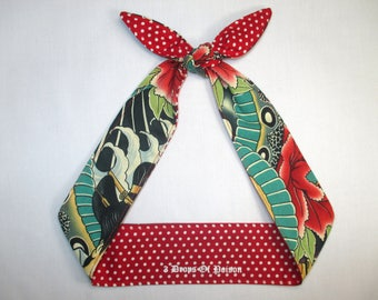 Skinny narrow Head Scarf Reversible Red and White  Polka Dots Rockabilly Pin-up Tattoo print Knotted Head scarf Wrap Tie top knot headband